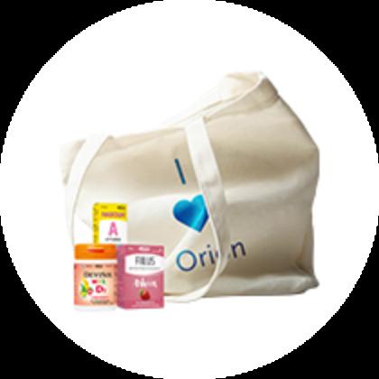Orionin tuotteita ja puuvillakassi